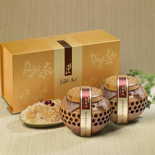 [설이왔소][참자연] 산(山)꿀 산삼배양근 담은꿀(도자기) 600g×2 이미지