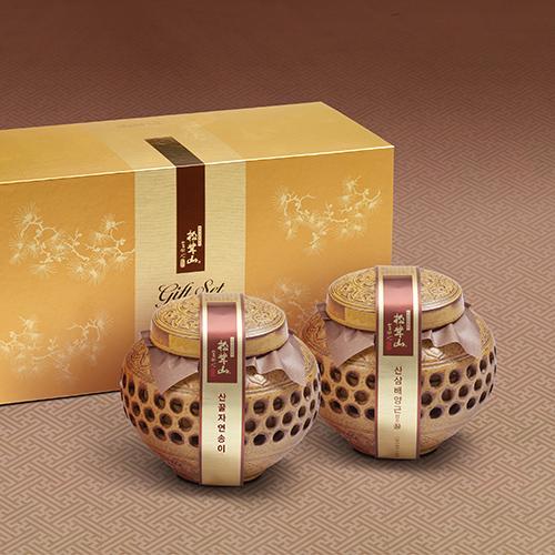[설이왔소][참자연] 산(山)꿀 송이산 선물세트(자연송이&산삼배양근) 4호 이미지